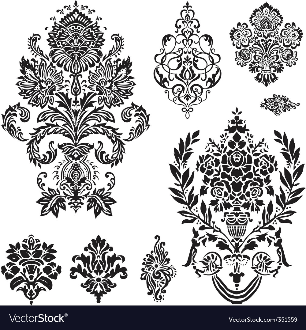 damask ornament set vector