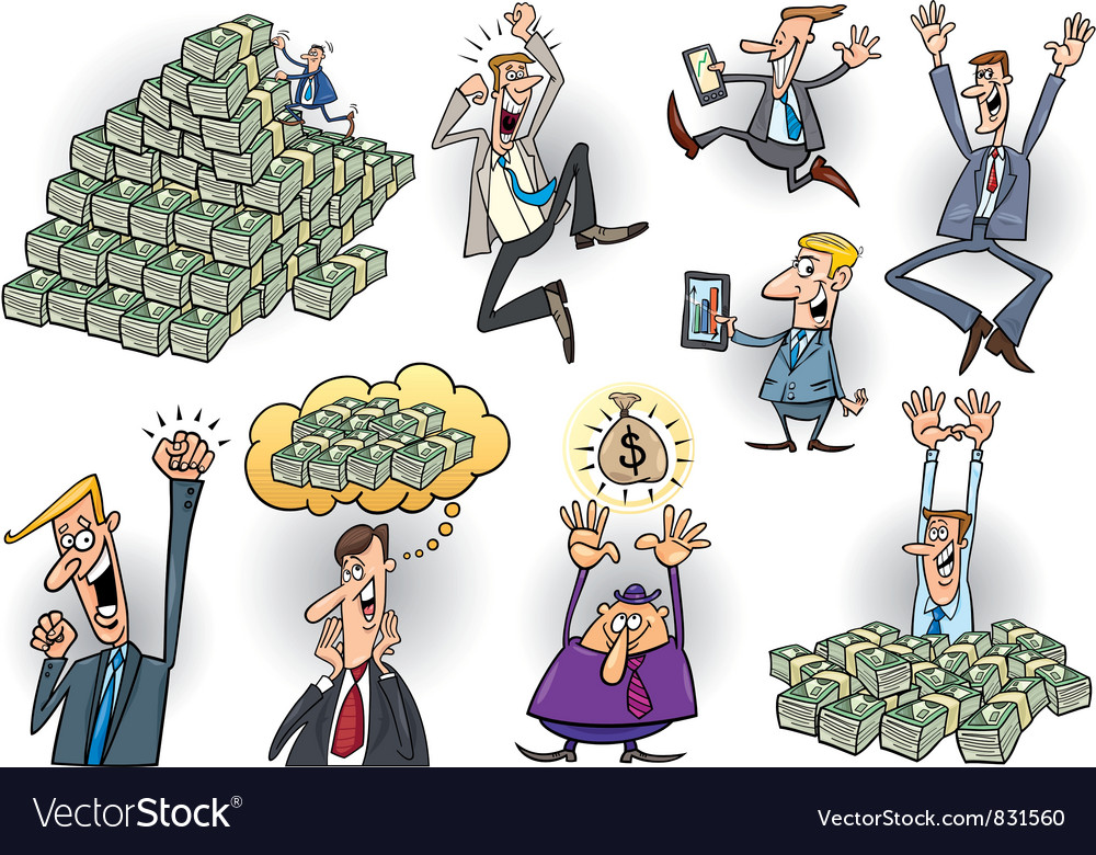 Success in business cartoon set vector