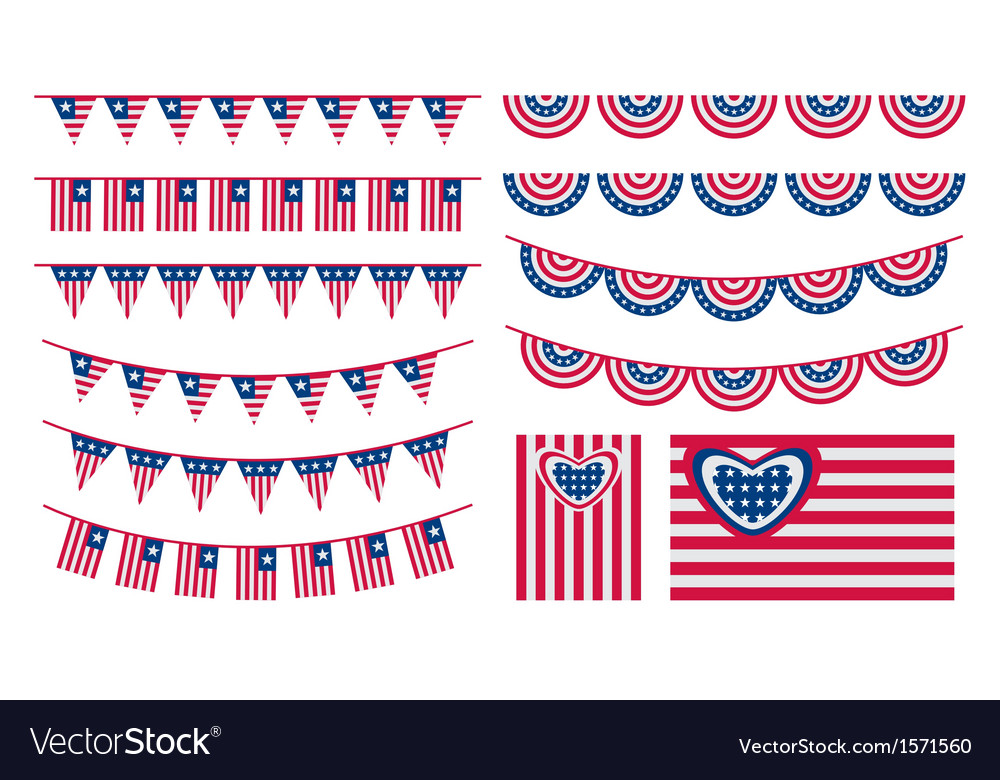 Usa bunting and flags vector