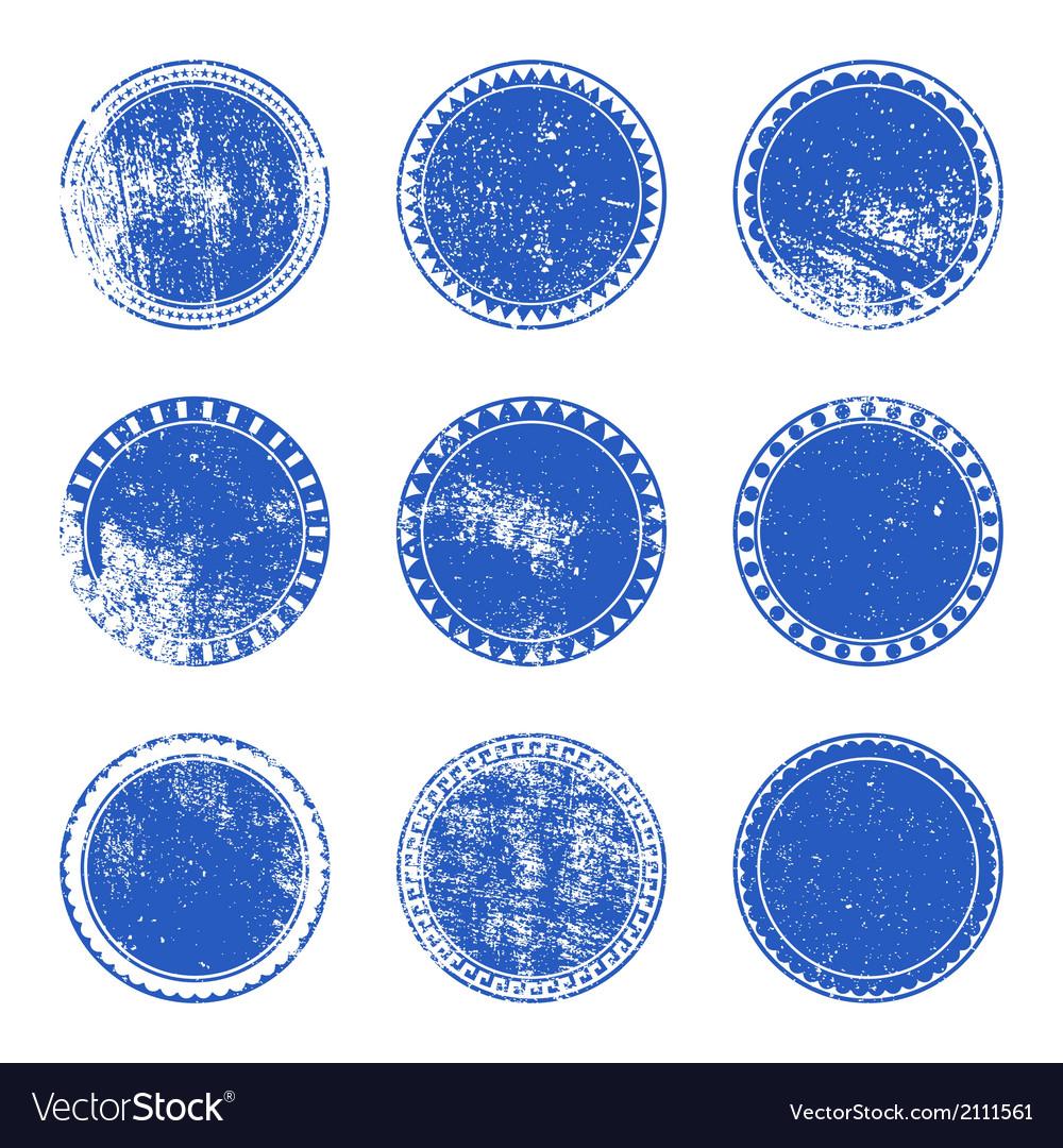 Blue grunge stamp set vector