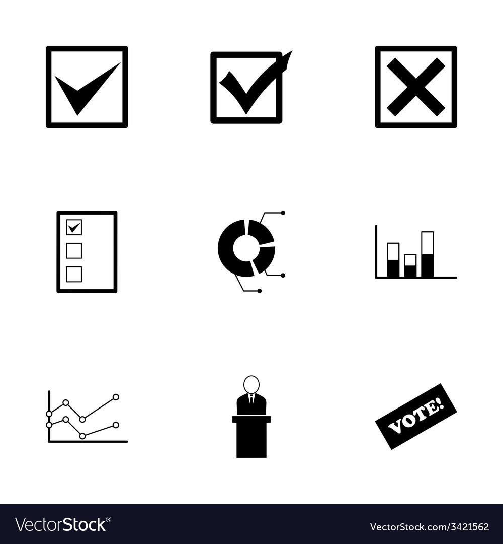 Black election icon set vector