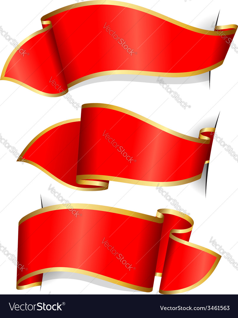 Red ribbon collection vector
