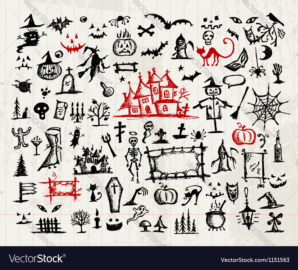 Sketch of halloween design elements vector