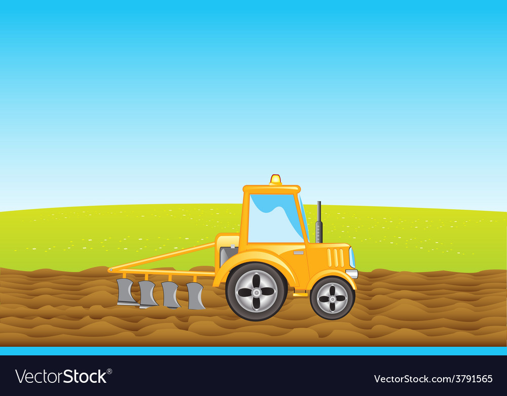 Tractor plows land in field vector