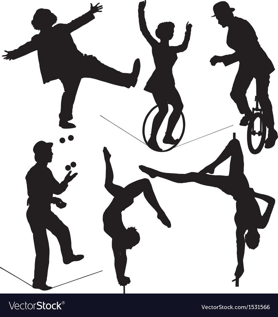 Circus artist silhouette vector
