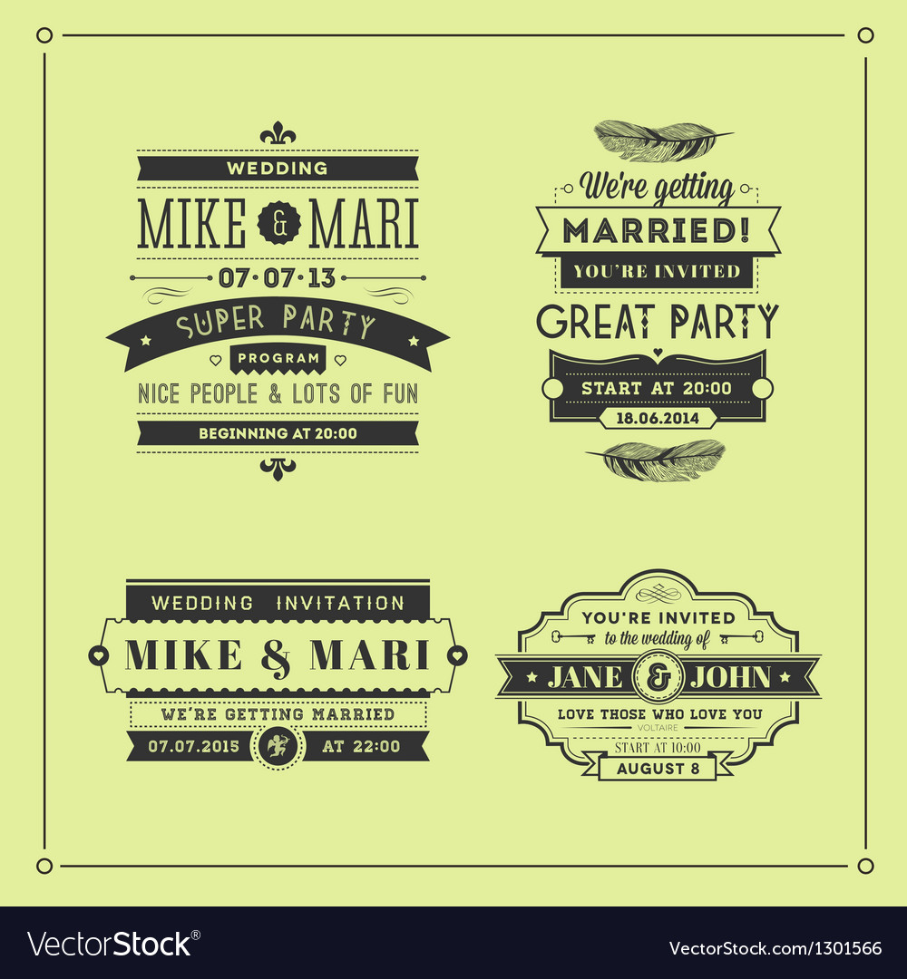 Retro wedding stamps vector