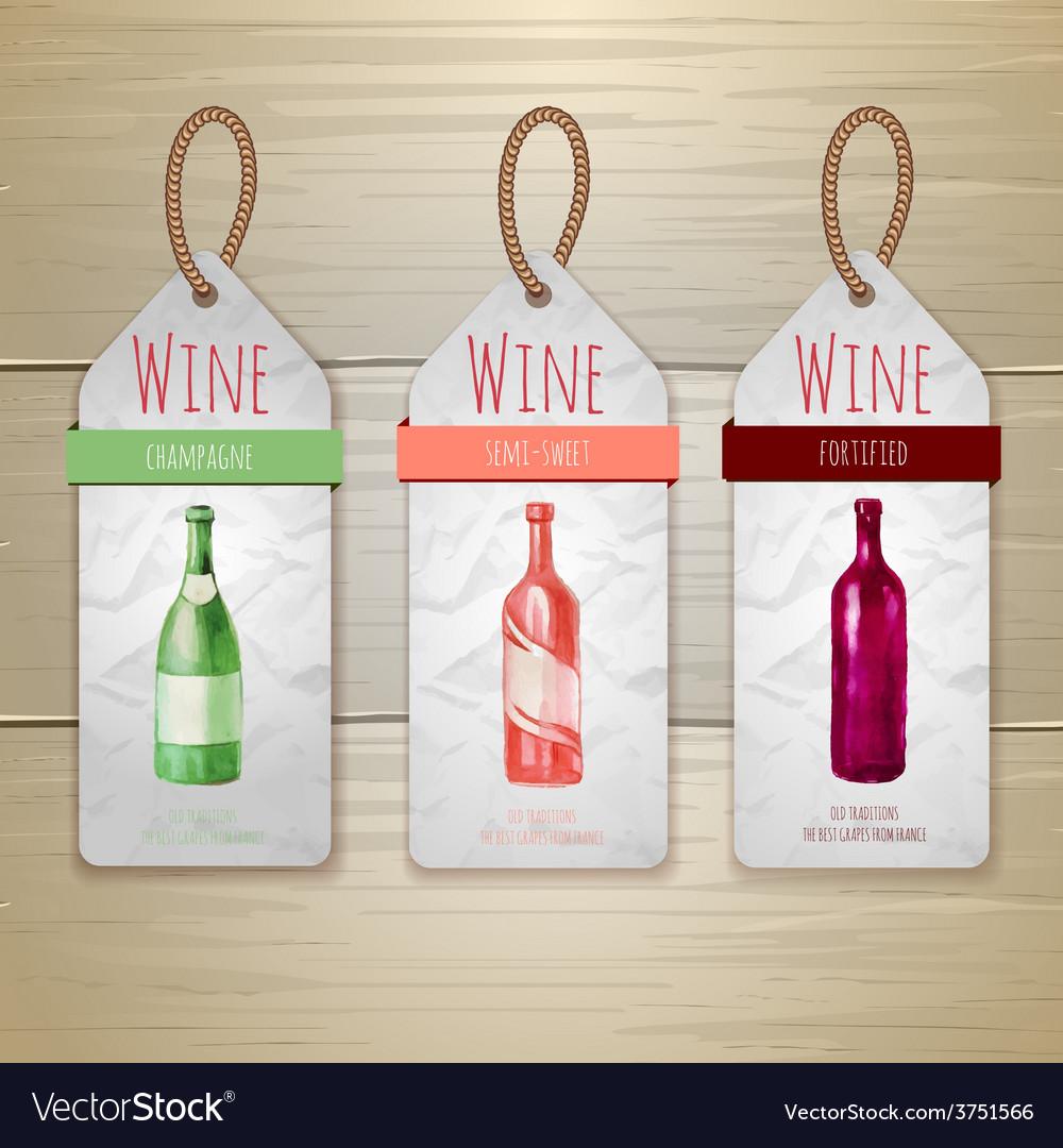 Watercolor wine concept design corporate identity vector