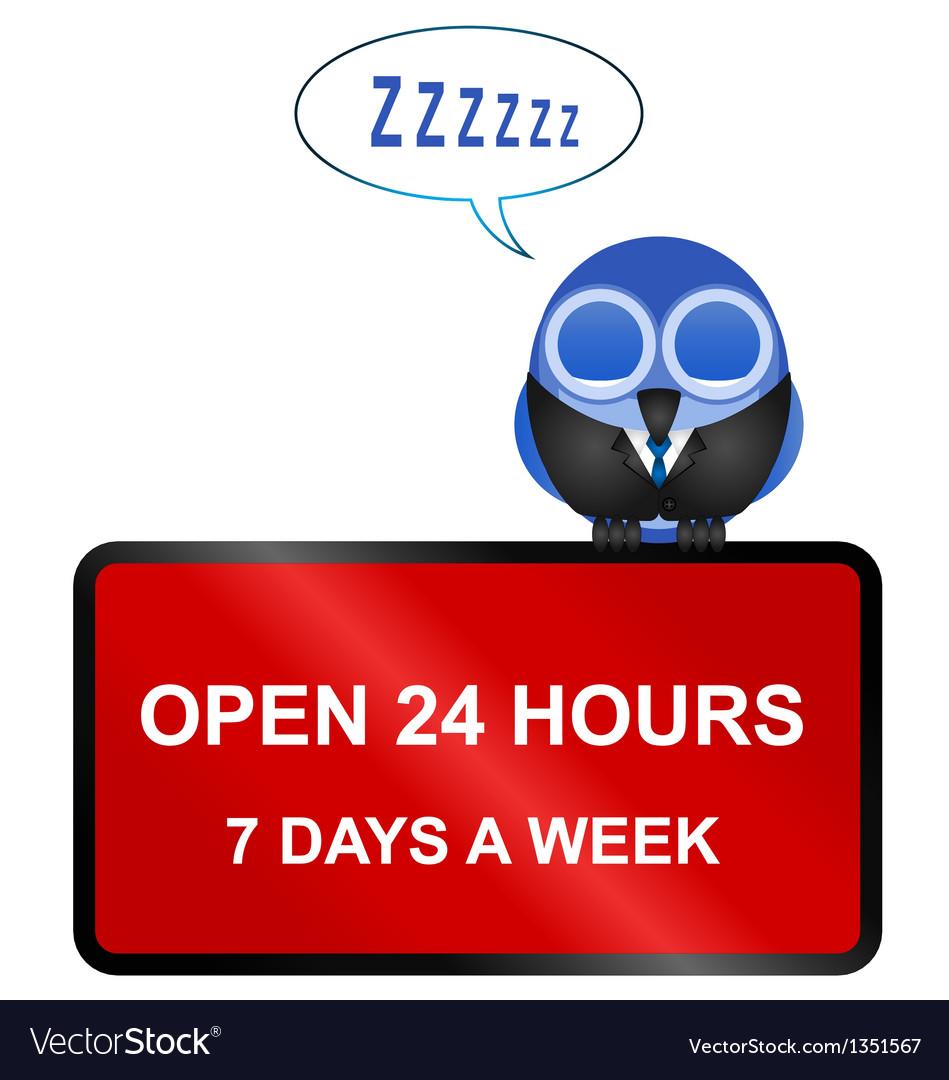 Open twenty four hour retail sign vector