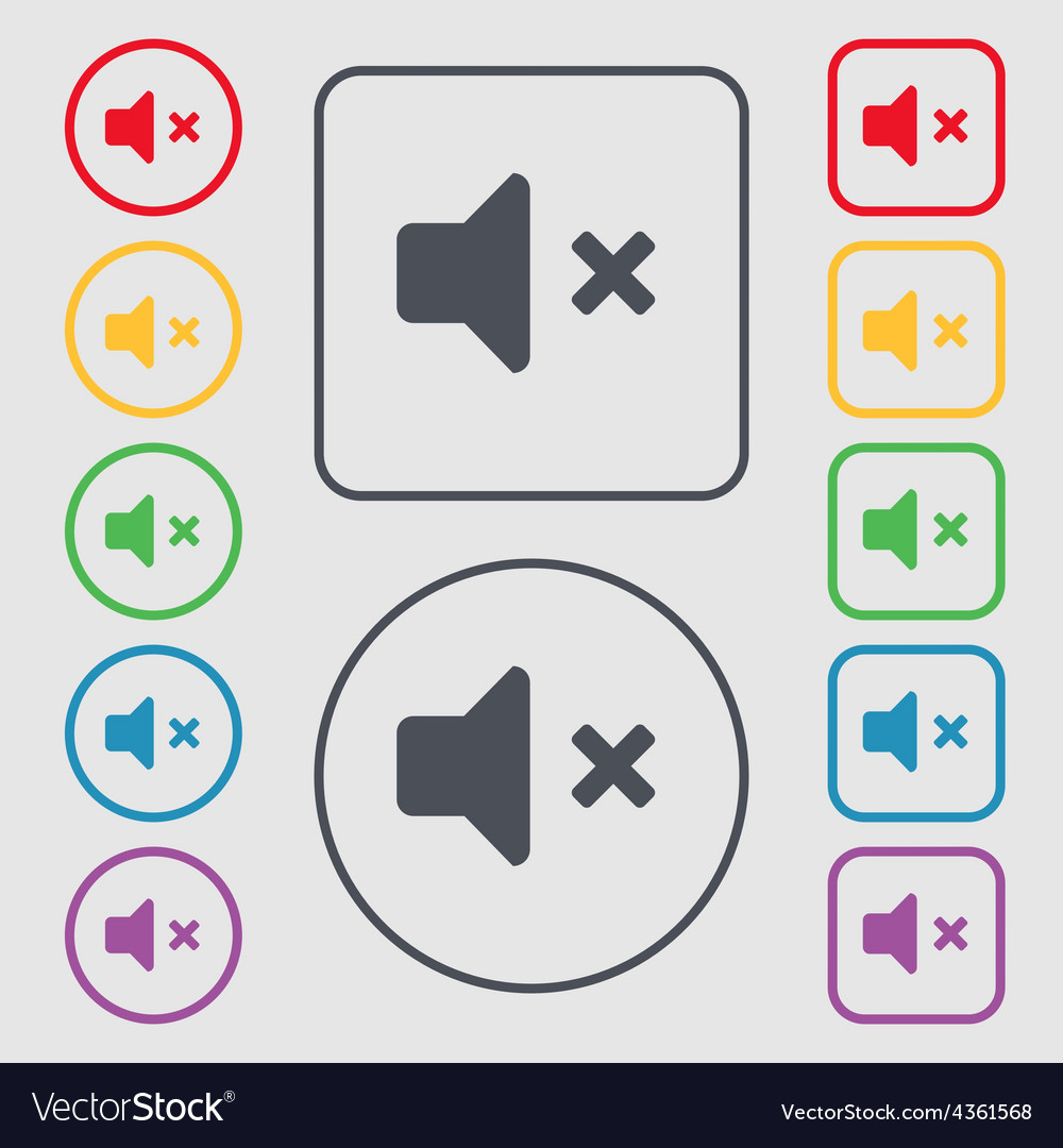 Mute speaker sound icon sign symbol on the round vector