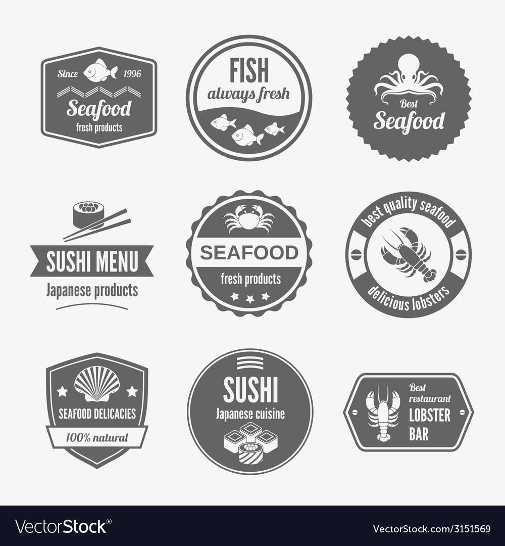 Seafood label set black vector