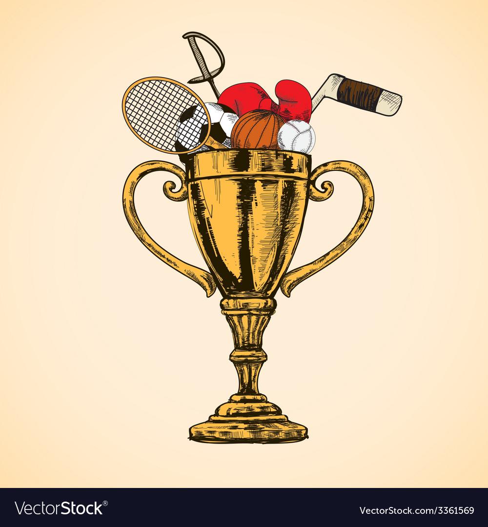 Sport trophy cup vector