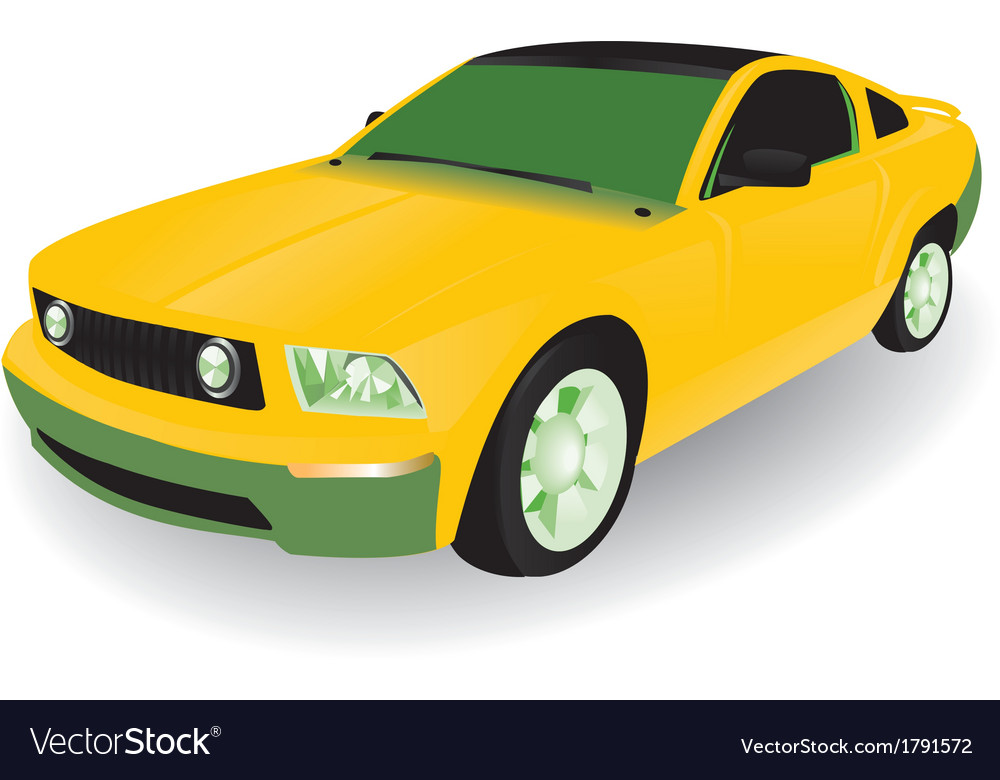 Yellow car vector