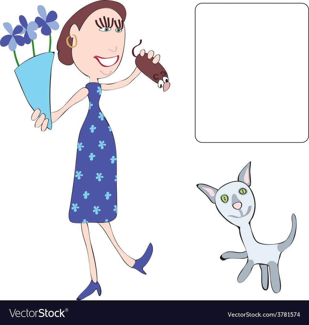 Mum and cat vector