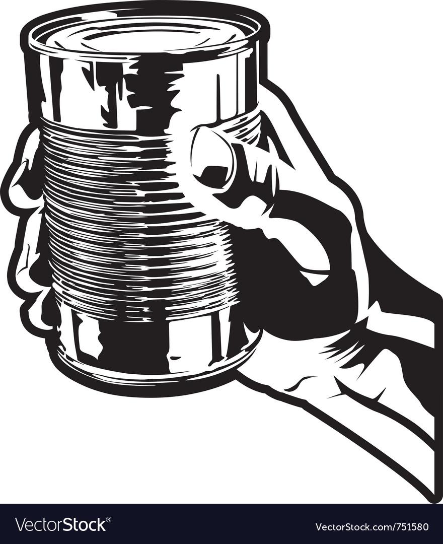 Holding a tin can vector