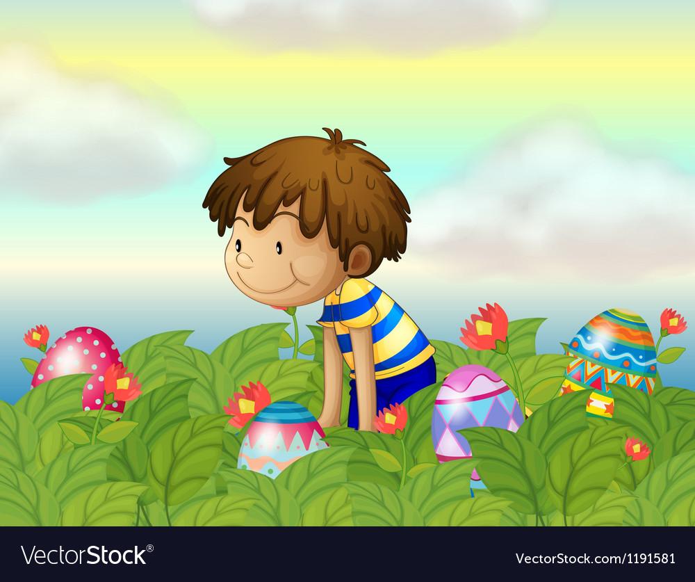 A kid hunting eggs vector