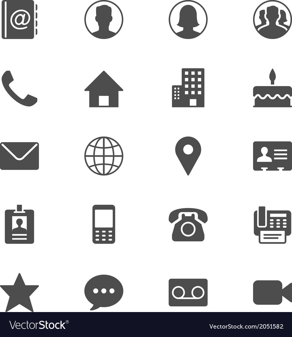 Contact flat icons vector