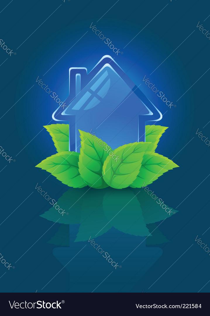 Eco house symbol vector