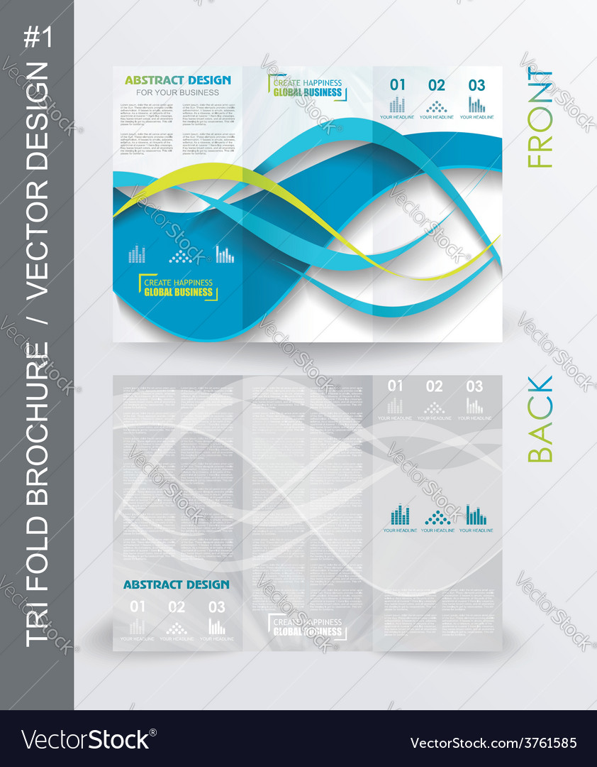 Tri fold business brochure template vector