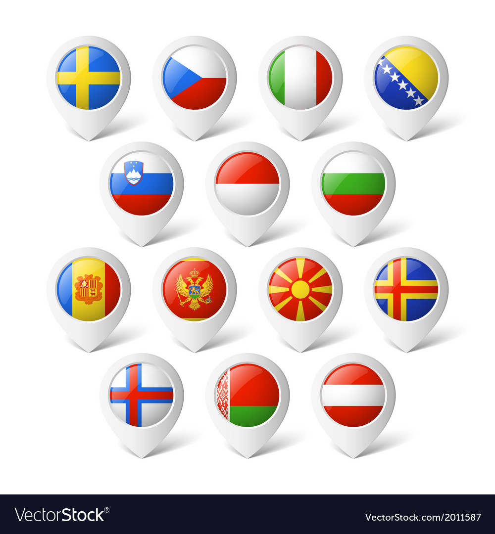 Map pointers with flags europe vector
