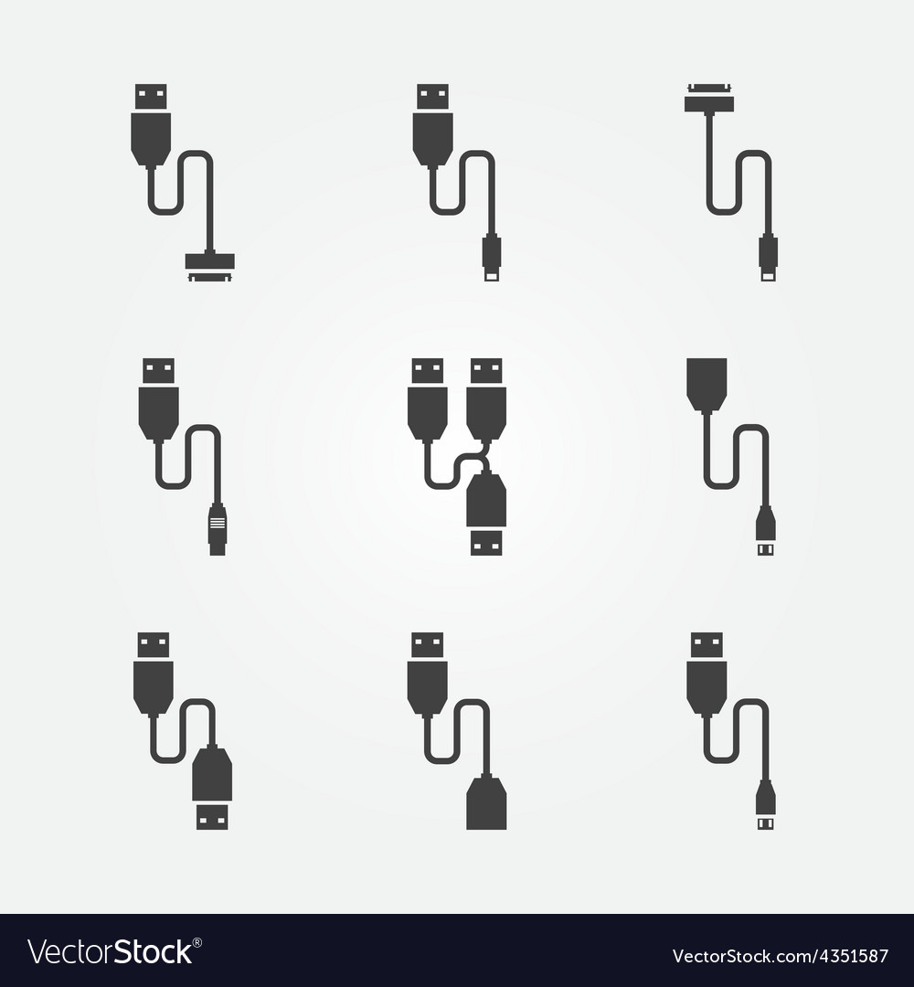 Usb cables icons vector