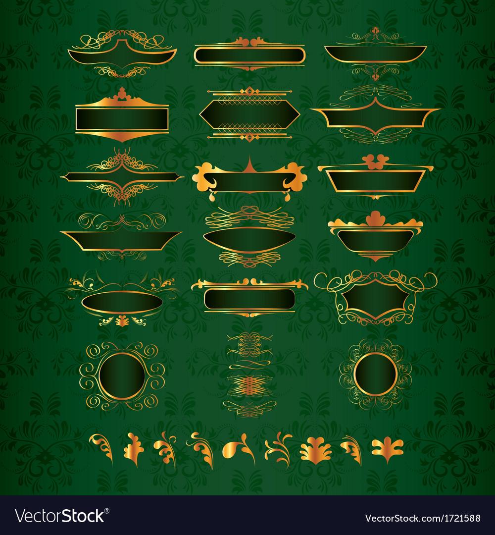 Golden ornate decor elements vector