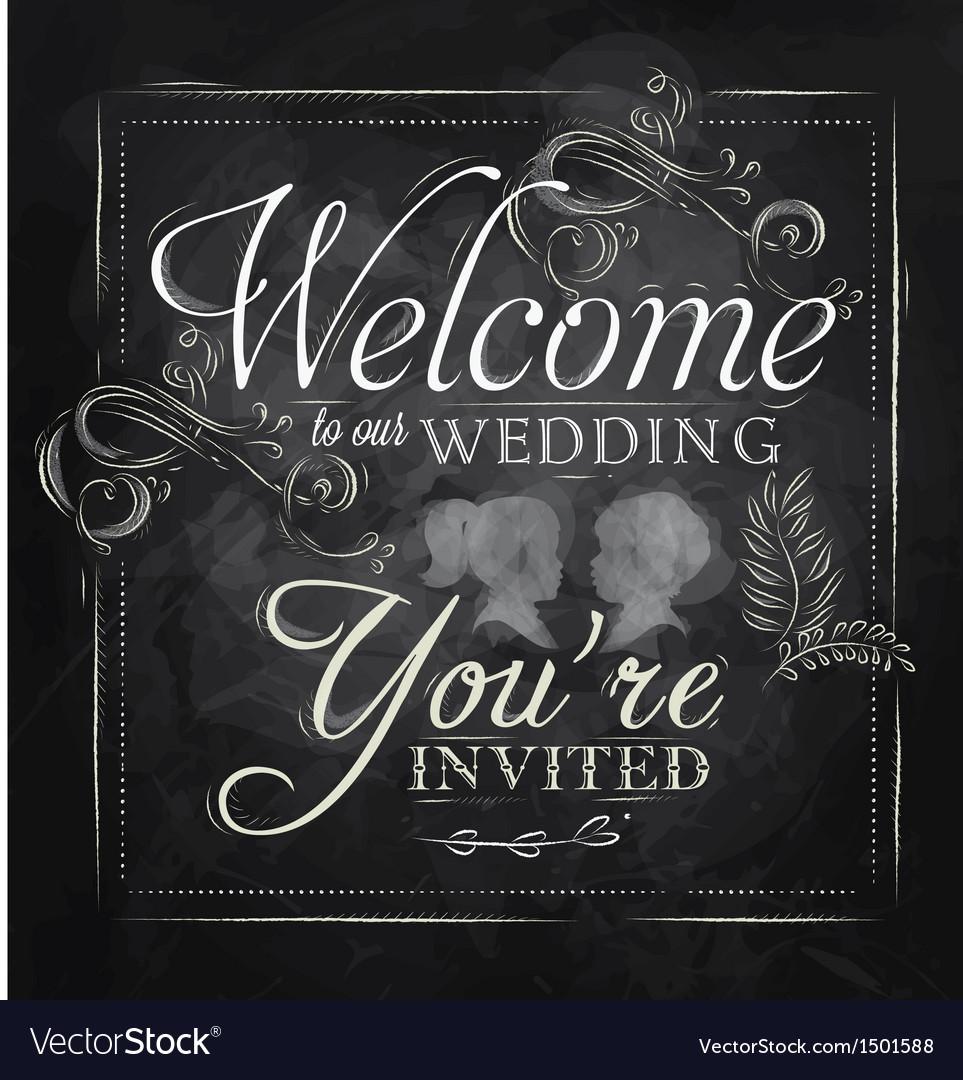 Wedding invitation chalk vector