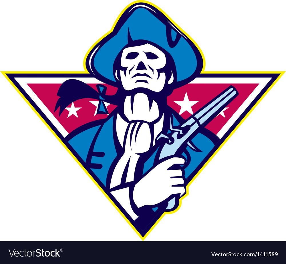 American patriot minuteman flintlock pistol vector