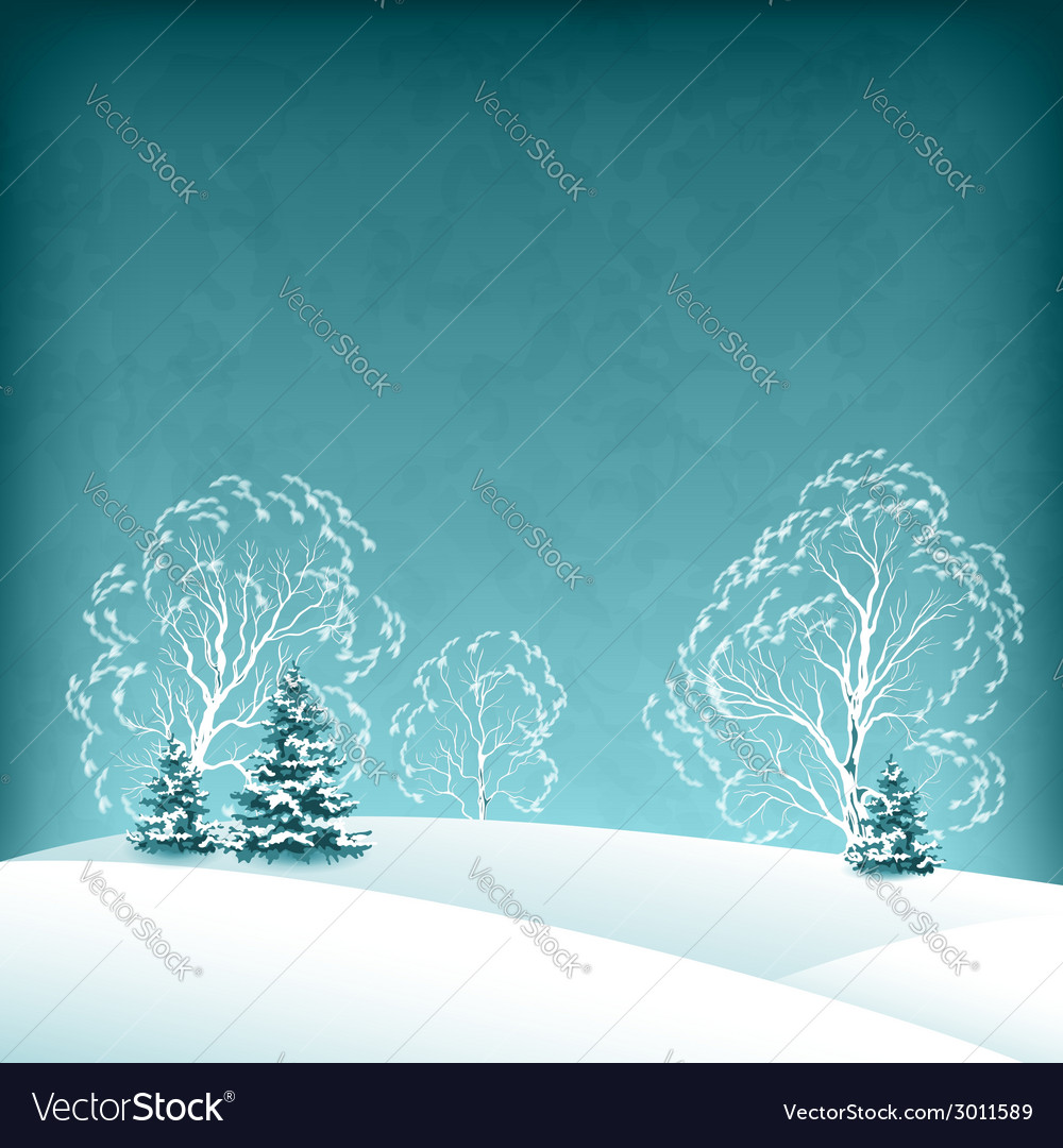 Winter landscape with fir trees vector