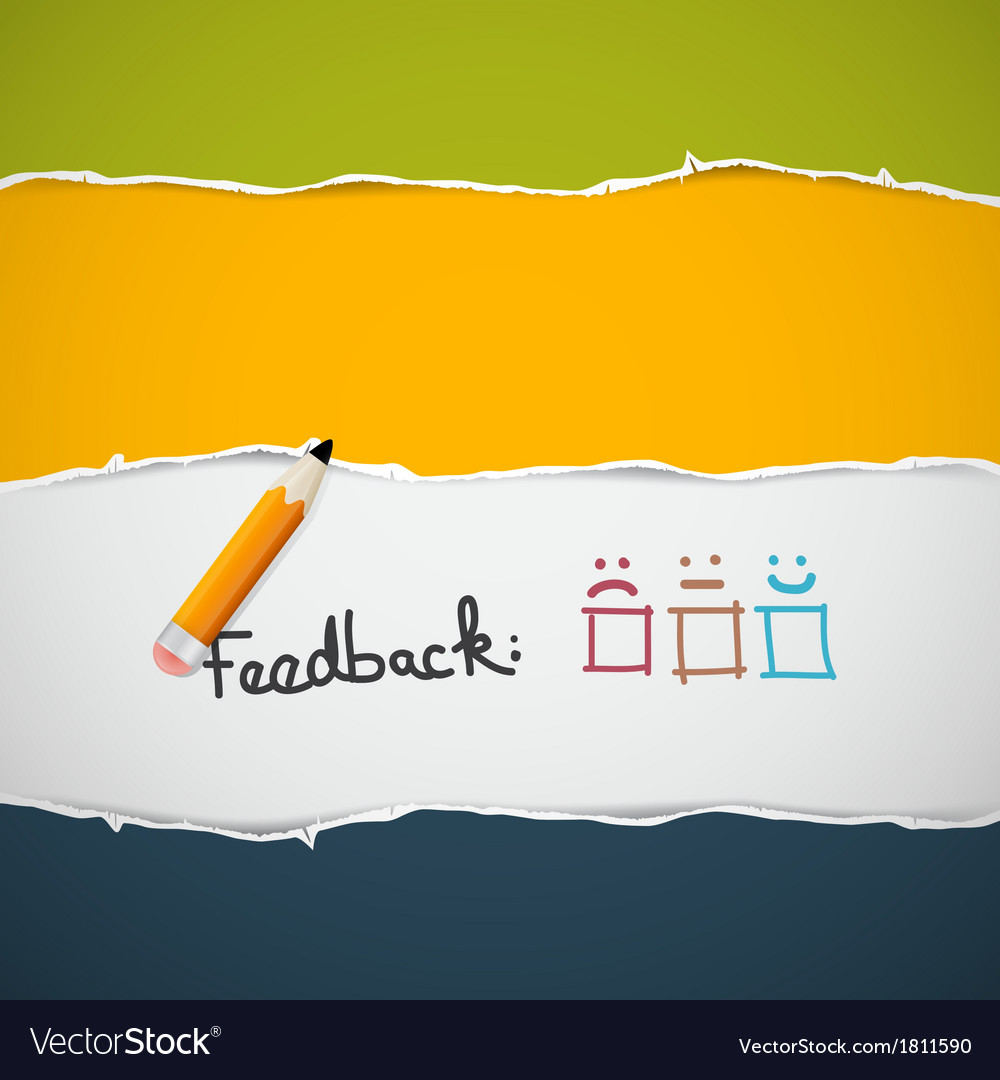 Retro torn paper feedback background with pencil vector
