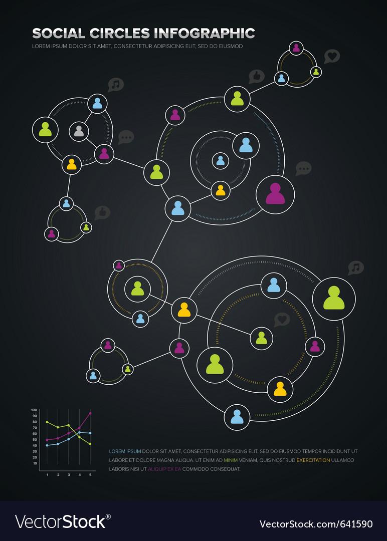 Social circles infographic vector