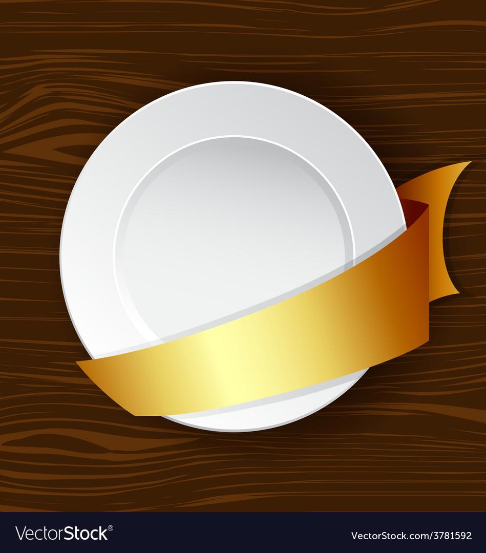 Dish with gold ribbon vector