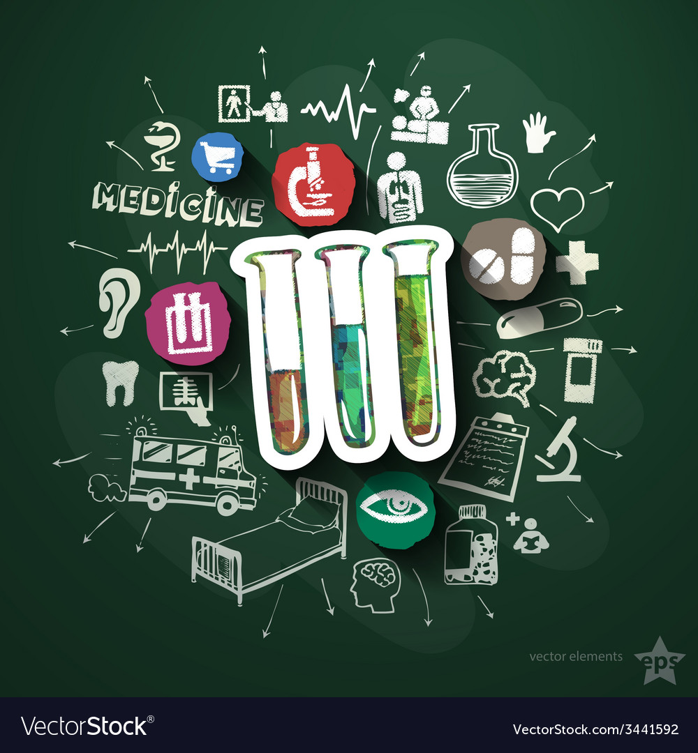 Healthcare collage with icons on blackboard vector