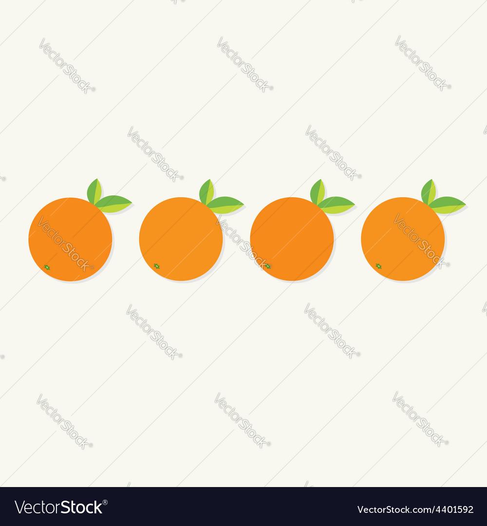 Orange fruit set with leaf row healthy lifestyle vector