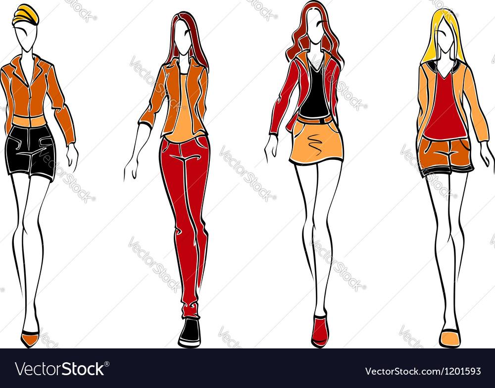 Casual fashion models vector