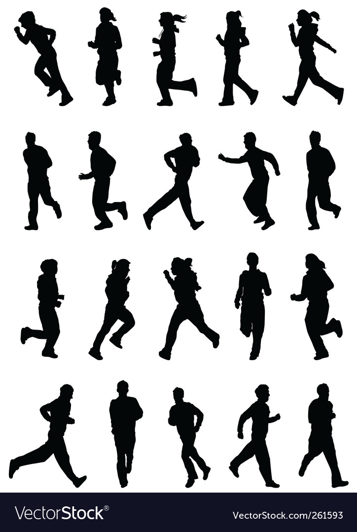 Running people silhouette vector