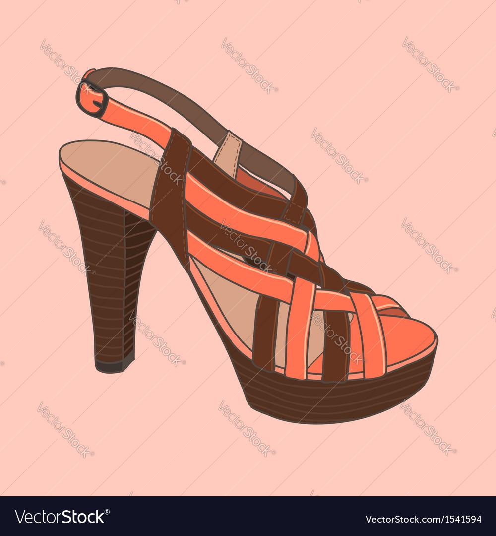 Fashion shoes peach vector