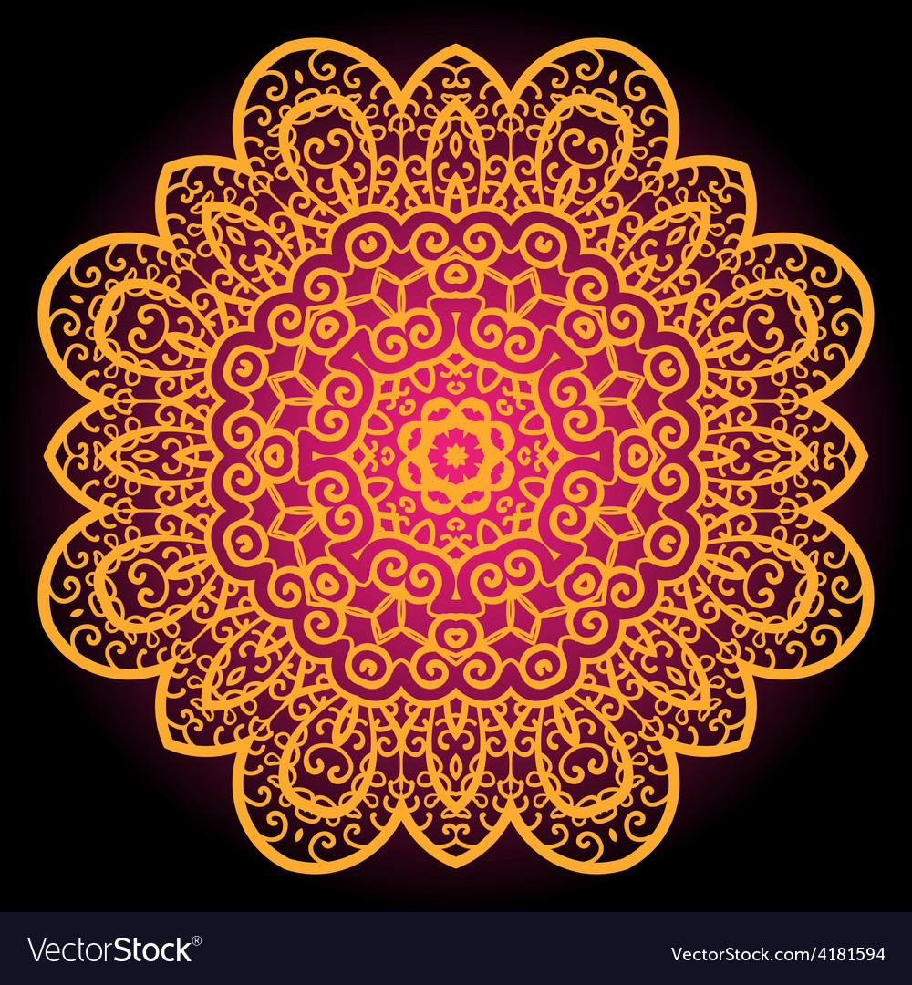 Orange vintage art of india mandala chakra karma vector