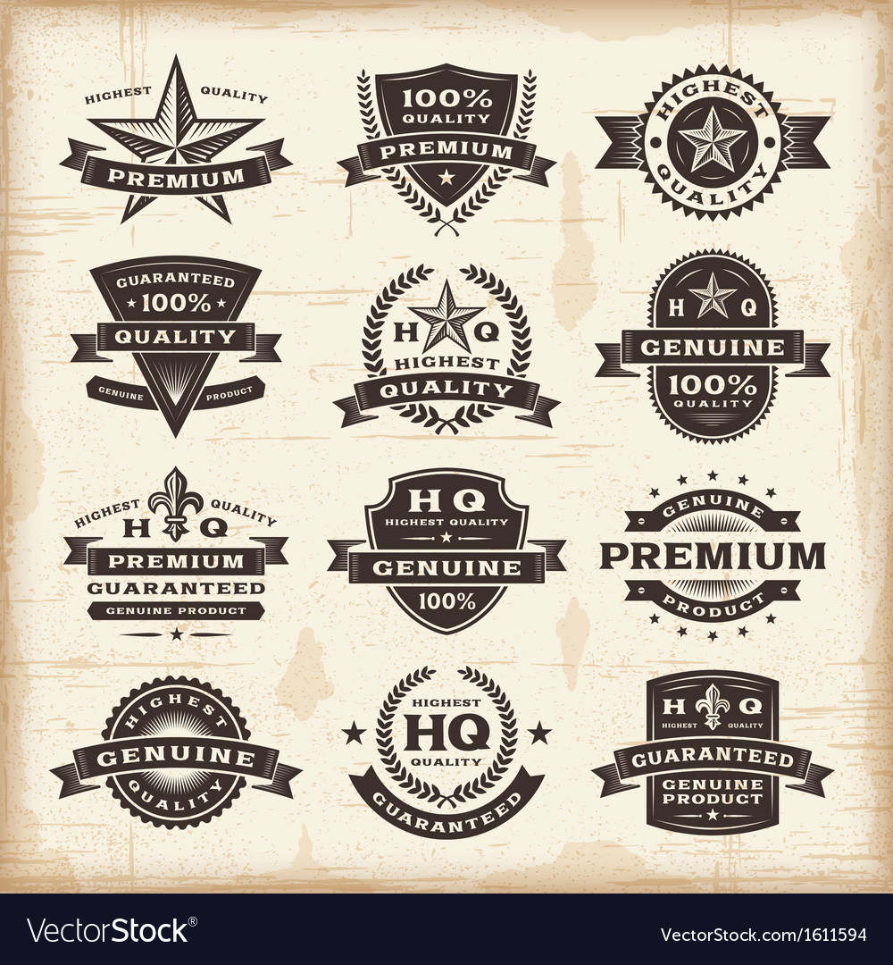 Vintage premium quality labels set vector