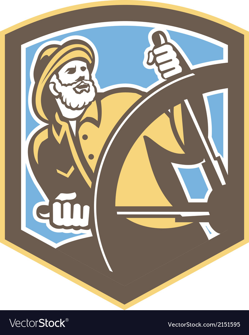 Sea captain fisherman steering shield retro vector