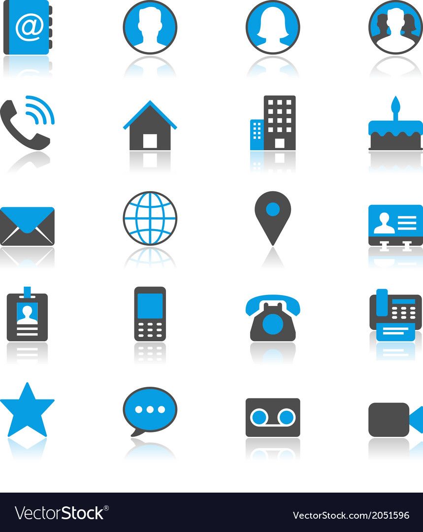 Contact flat with reflection icons vector