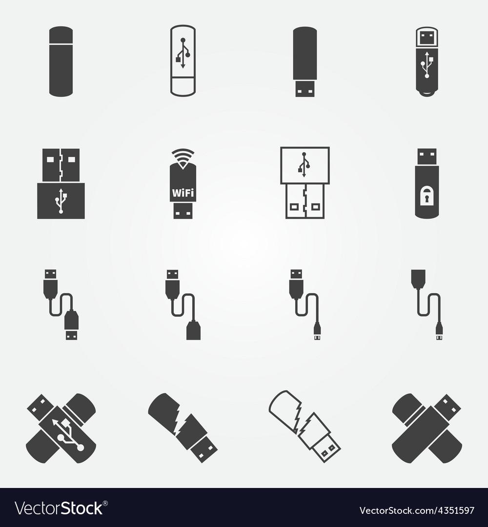 Usb icons set vector
