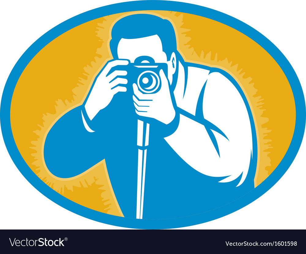 Photographer with dslr camera shooting front vector