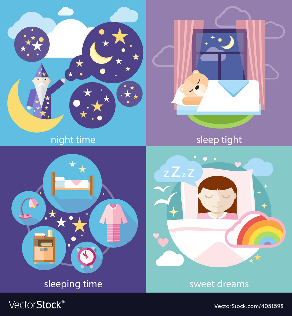 Sleeping and night time sweet dreams vector