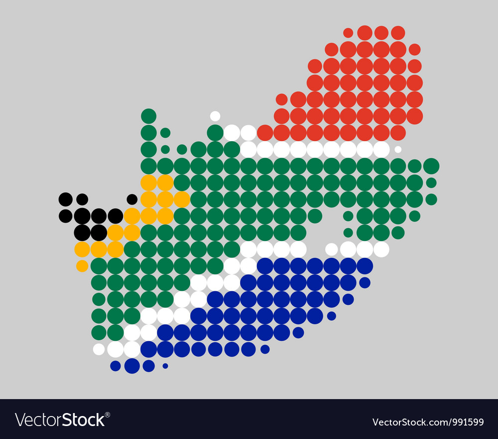 Map and flag of south africa vector