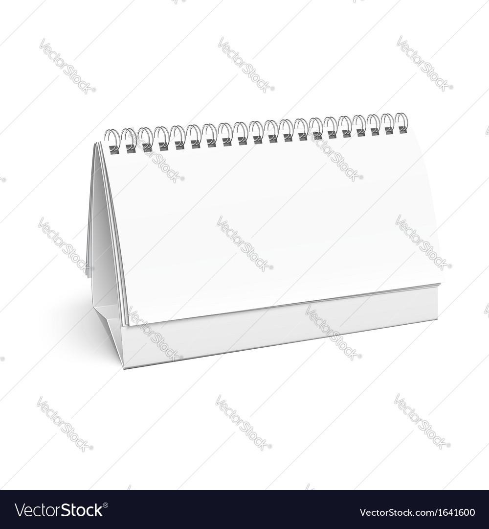 Blank paper desk spiral calendar vector