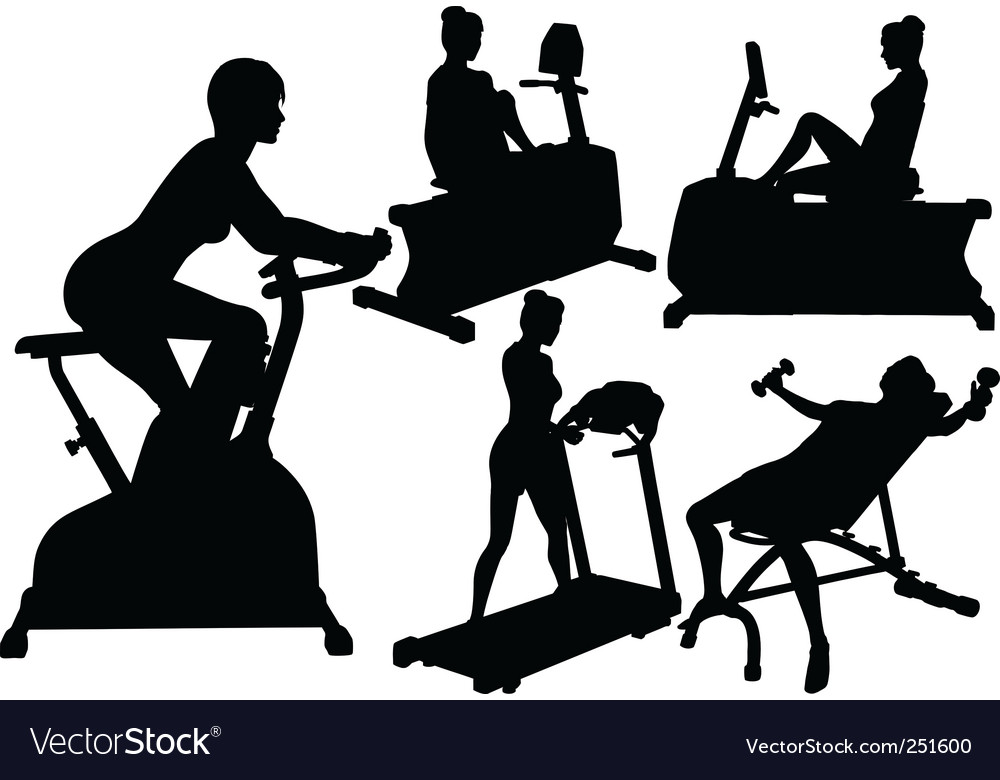 Women gym fitness exercise workouts vector