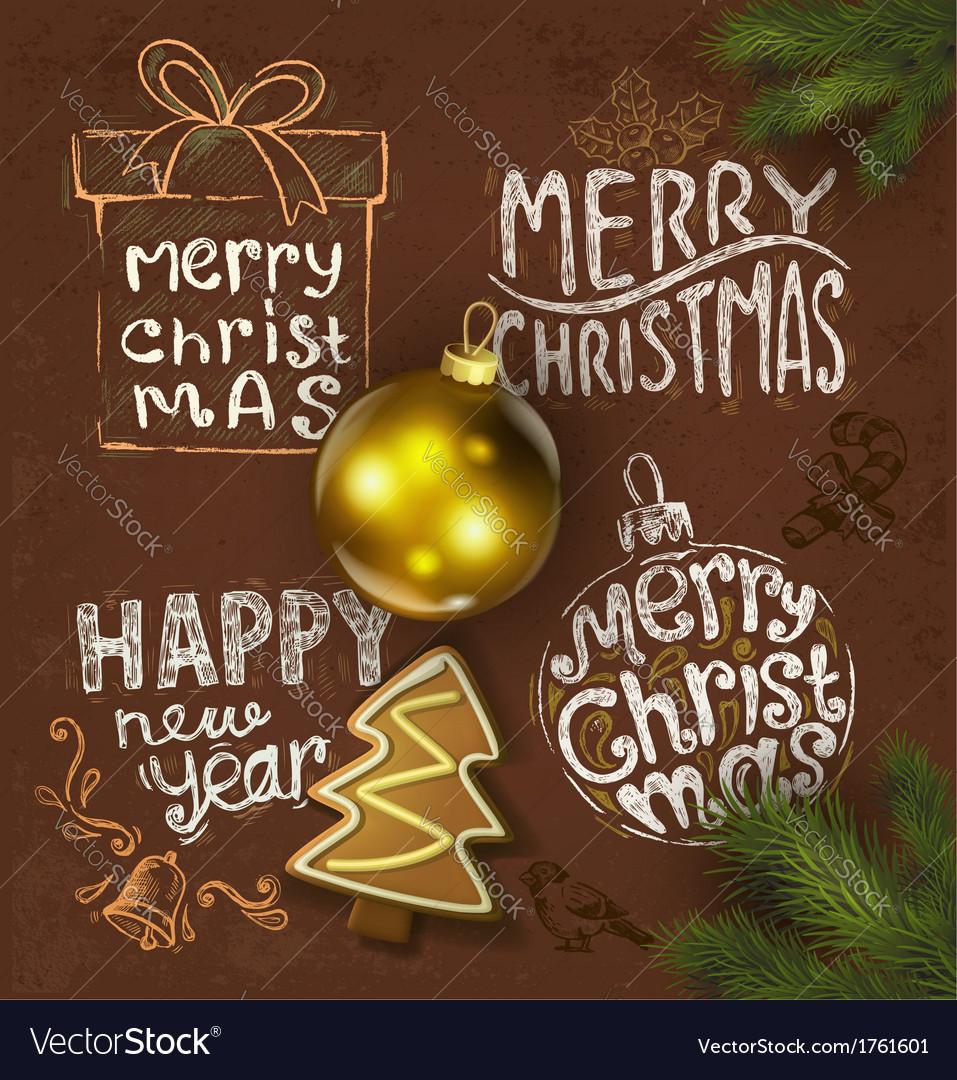 Christmas background on chalkboard vector