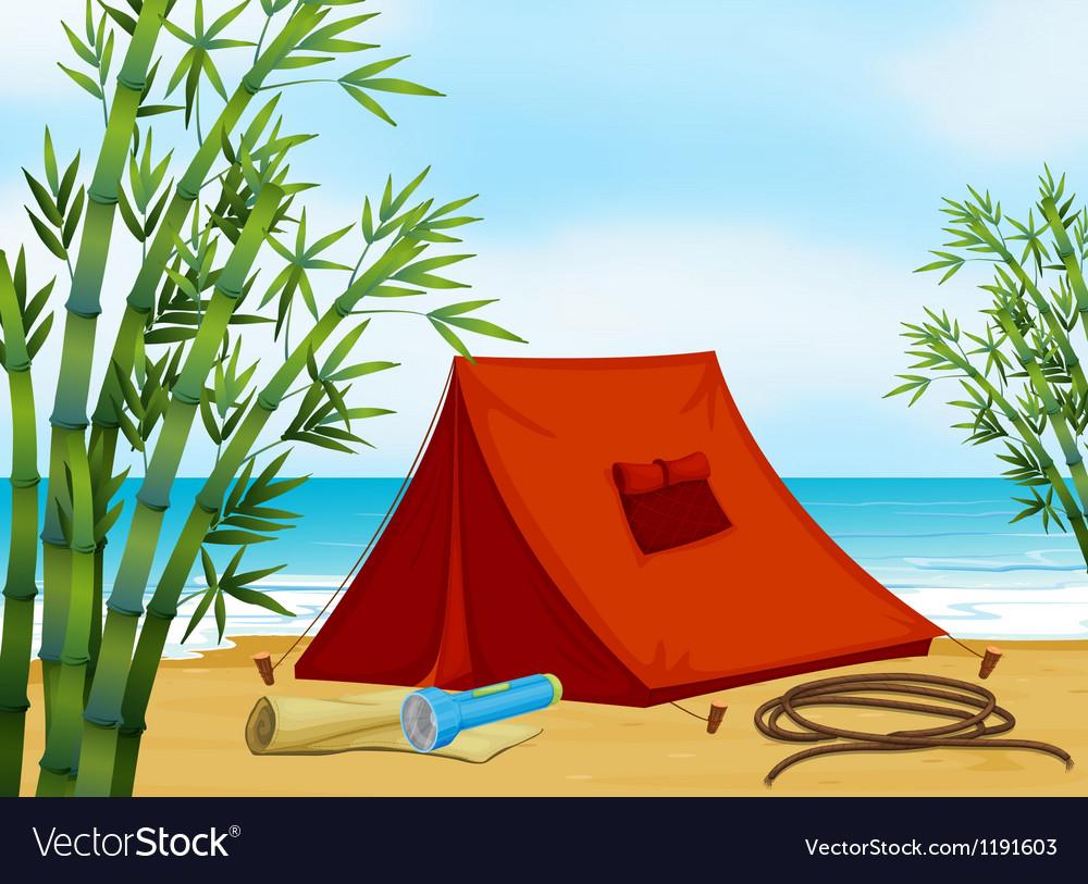 Camping at the beach vector