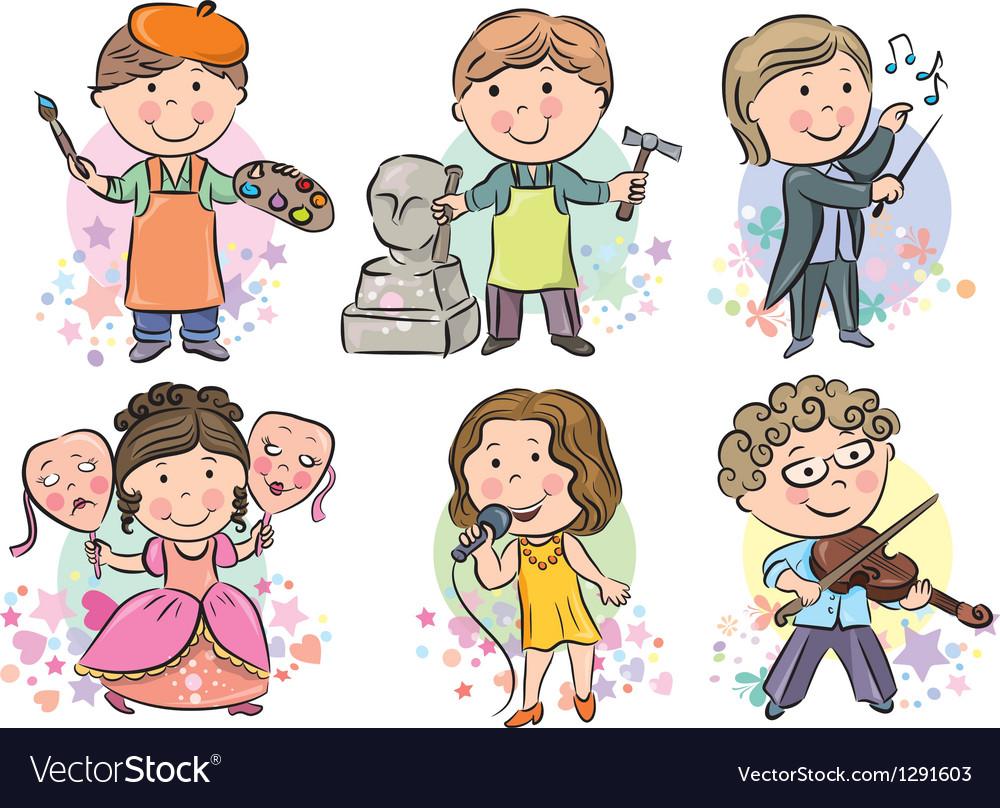 Professions kids set vector