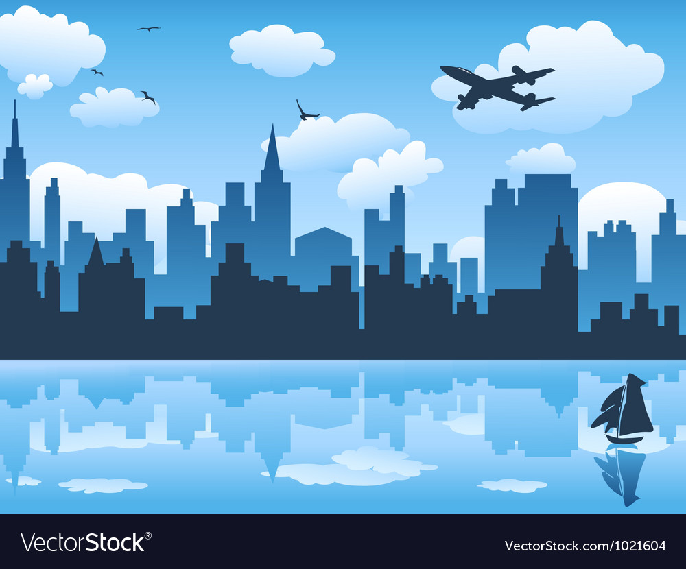 City in blue sky and its reflection on water vector